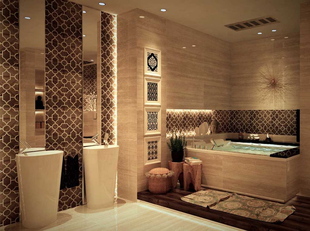 терракотовый стиль ванной